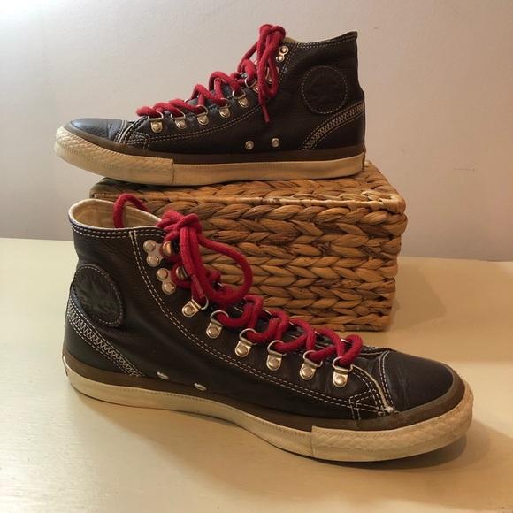 Converse Brown Leather Chuck Taylor Hi Tops Mens 9